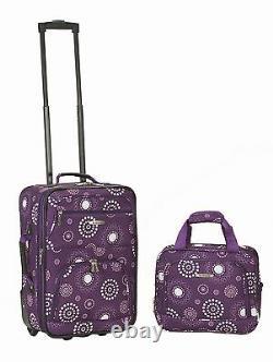 2 Piece Luggage Set Polyester Purple New