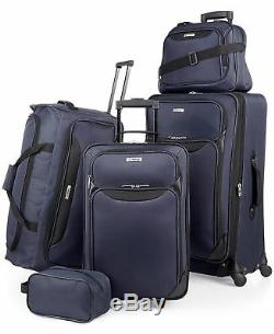 $200 NEW TAG Springfield III Blue 5 Piece Luggage Set Expandable Suitcase Navy