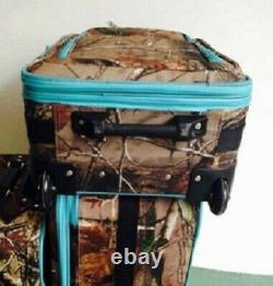 3 Pc. Expandable Luggage Suitcase Set Camo with Blue Color Trim Camouflage