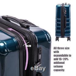 3 pieces set Expandable Luggage Sets Hardside Spinner Luggage TSA lock suitcase