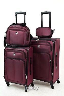 $300 TAG Daytona 4 Piece Set Travel Suitcase Expandable Spinner Luggage Burgundy