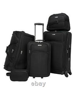 $300 TAG Ridgefield Black 5 PC Luggage Set Expandable Suitcase Lightweight