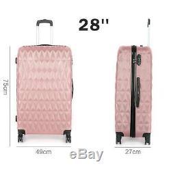 3pcs Hard Shell Luggage Suitcase Set Travel Luggage Trolley Case Rose Gold