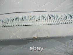 4 Piece Vtg MCM Hard Shell Case Suitcase Luggage Set Blue Vinyl Nesting Stacking
