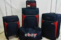 $460 New Nautica Oceanview 5 Piece Luggage Set Spinner Suitcase Blue Red Soft