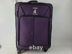 American Tourister 4 Piece Softside Luggage Set Purple Rolling Suitcases