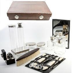 Antique P. SORMANI French Vanity or Travel Set, Luggage, Jars, etc. C. 1890-1910