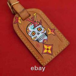 Auth Louis Vuitton Luggage Tag & Poignet Leather Set Custom Painted Sugar Skull