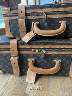 Authentic LOUIS VUITTON Vintage Set of 2 Suitcases Fantastic Condition