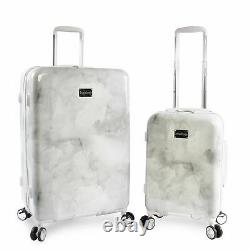 BEBE Women's Lilah 2 Piece Set Suitcase with Spinner Wheels Silver Marble
