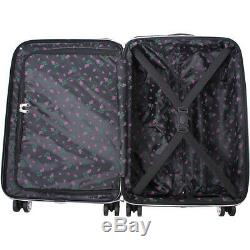 BETSEY JOHNSON Stripe Roses 3 Piece Expandable Hardside Luggage Set NEW