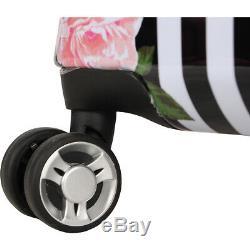 BETSEY JOHNSON Stripe Roses 3 Piece Expandable Hardside Luggage Set NEW