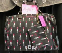 Betsey Johnson Black Lipstick Weekender Travel Duffle Bag Wristlet Luggage SET