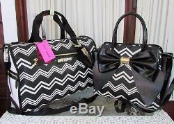 Betsey Johnson Chevron Weekender Luggage Travel Bag Satchel 2pc Set Purse NWT