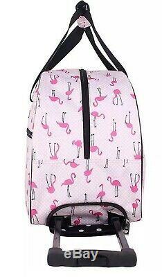 Betsey Johnson Flamingo 20 Hardside Carryon Spinner Suitcase & 22 Duffle Set