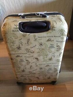 Brand New-Tommy Bahama Tan Map Print 3 Piece Hardside Spinner Luggage Set