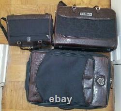 Brighton Brown Black Luggage Set Suitcase Carry-On Hanging Garment Bag Toiletry