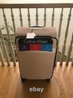 CALVIN KLEIN SUITCASE Set CK MONOGRAM LOGO LUGGAGE TROLLEY SPINNER Light Pink