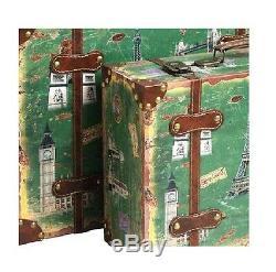 Decorative Suitcase Set Trunk 2 Vintage Antique Retro Style Luggage Travel Decor