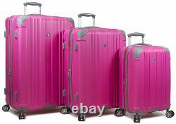 Dejuno Kingsley 3-Piece Hardside Spinner Luggage Set With TSA Lock Pink