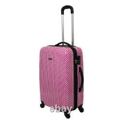Dejuno Mihara 3-Piece Combination Lock Hardside Spinner Luggage Set Pink