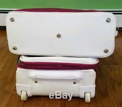 Diane von furstenberg Pink Suitcase carry on Bag Set Heart LOVE Logo
