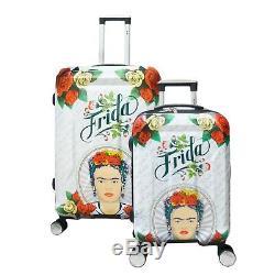Frida Kahlo 2pcs Set Travel Luggage White Lady Spinner Suitcase (20 28 inch)