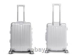 Gabbiano Aurora 2 Piece Aluminum Frame Hardside Spinner Luggage Set Silver