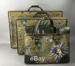 Hartmann Luggage Vintage Mid Century Sun & Face Fornasetti Style 3pc Set