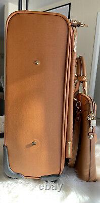 Henri Bendel West 57th Wheelie Rollaway Suitcase Briefcase Laptop Luggage Set