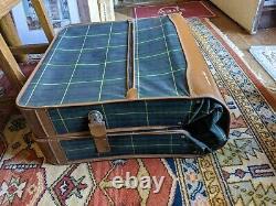 Highlander Antique 2 Luggage Set Green Plaid Suitcase Suit Garment Bag MCM Vtg