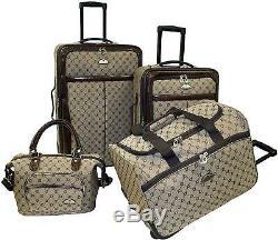 Juego De Maletas Para Viaje 4 Piece Brown Luggage Set Equipaje Grande Con Ruedas