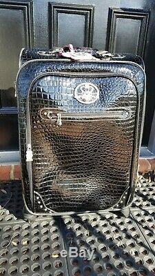 Kathy Van Zeeland 3 PC Set Black Croco PVC Expandable Spinner Luggage Suitcases