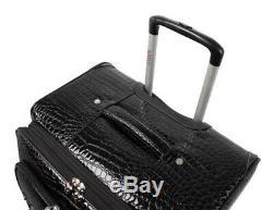 Kathy Van Zeeland Black 4pc Croco Luggage Set Pvc Expandable Spinner Suitcase