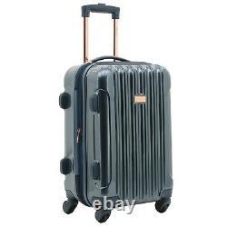 Kensie 3-Piece Metallic Vertical Rolling Luggage Set TSA spinner NAVY