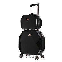 Kensie Women's 2 Piece Shiny octagon Luggage Set, Black TSA