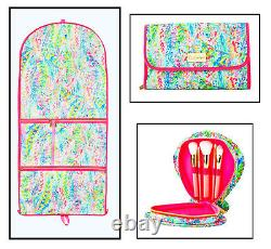 Lilly Pulitzer Catch the Wave Luggage Travel Garment Bag Cosmetic Case Brushes