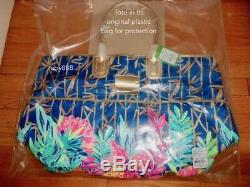 Lilly Pulitzer Jet Set Flowered Slathouse Weekender Luggage Tote Navy Nwt