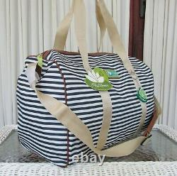 Lily Bloom Tara Overnight Duffel Travel Bag Riley Backpack Navy Stripe Set NWT