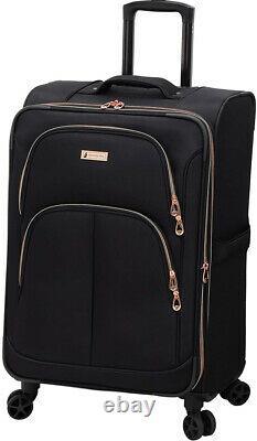 London Fog Bromley Softside Expandable Spinner Luggage, Black, 4PC set