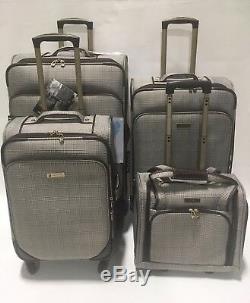 London Fog Devonshire 4pc Light Luggage Set Expandable Brown Menswear Plaid New