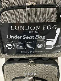 London Fog Manchester 4pc Light Luggage Set Exp Black White Herringbone New