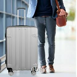 Luggage Set Cabin Suitcase Carry On SILVER 30ABS Spinner Lightwheight Travel