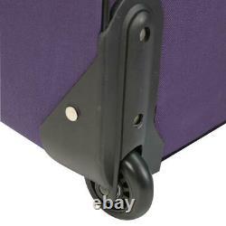 Luggage Set Softside Vineyard Retractable Handle Zipper Pockets Purple (4-Piece)
