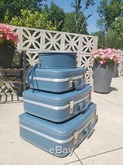 MCM Vintage 4 Pc Suitcase Luggage Set Blue Vinyl Hard Side Stacking Nesting