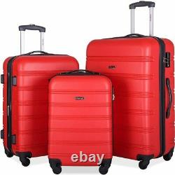 Merax 3 Pcs Luggage Set Expandable Hardside Lightweight Spinner Suitcase With Ts
