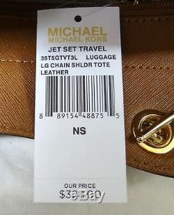 Michael Kors Jet Set Chain Luggage Saffiano Leather Large Shoulder Tote Bag
