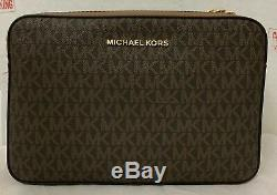 Michael Kors Jet Set Large EW MK Signature PVC Crossbody Bag Purse