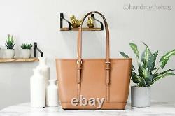 Michael Kors Jet Set Small Luggage Leather Top Zip Shoulder Tote Handbag Purse