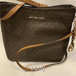 Michael Kors Jet Set Travel Brown Luggage PVC MK Logo Large Messenger Bag